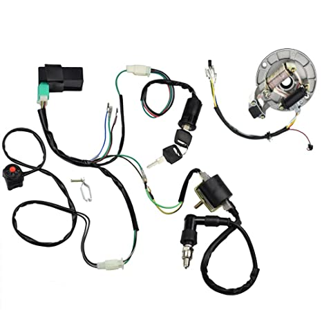 minireen kick start dirt pit bike wire harness wiring loom cdi ignition  coil magneto spark plug
