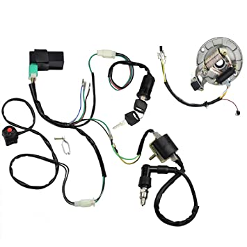 minireen kick start dirt pit bike wire harness wiring loom cdi ignition coil magneto spark plug rebuild kit for 50cc 125cc stator cdi coil atv quad Kawasaki OEM Parts Diagram