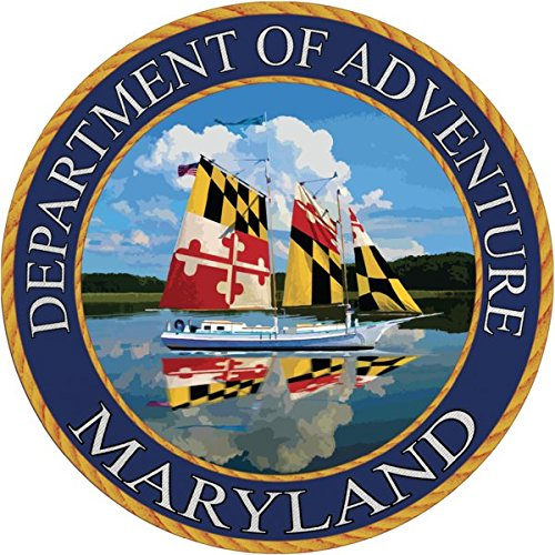 (Maryland Sticker, Department of Adventure State Seal MD Flag Ship's Sail Edition Vinyl Decal Label for Water Bottle Laptop Luggage Bike Laptop Tacklebox 5 Gal Bucket Bumper Helmet Waterproof)