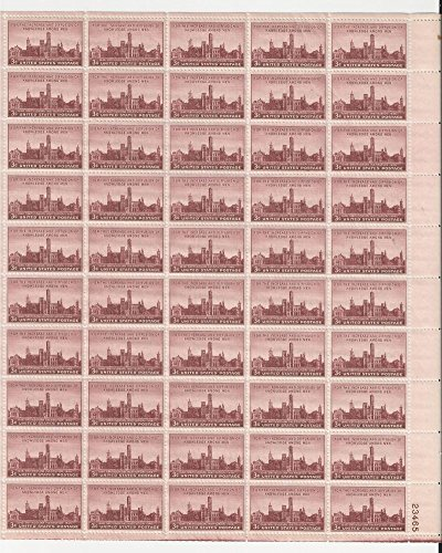 1946 Unused MNH OG Full Sheet (50) 3 Cent Scott Catalog #943 Smithsonian Institute Centennial 1846-1946 100 Year Anniversary Mint Never Hinged Original Gum United States of America Post-World War II WWII WW2 Era Commemorative U.S. Postage Stamps USA (Two 943 Post)