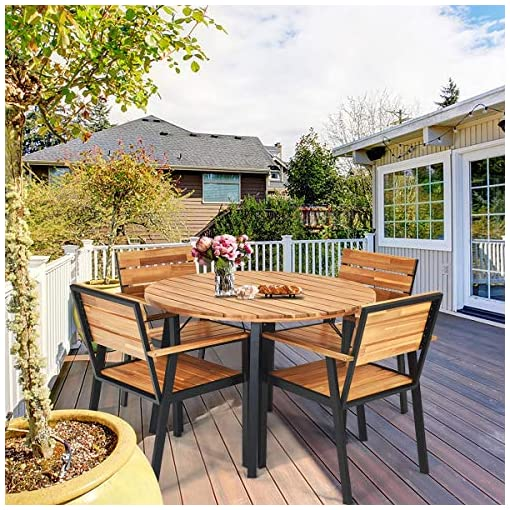 Garden and Outdoor HAPPYGRILL 5-Piece Patio Dining Set Outdoor Conversation Set with Acacia Wood Table Chairs Top, Durable Steel Frame… patio dining sets