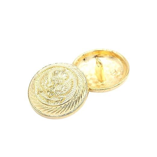 Metal vástago botones de costura Dorado para Hombre del Traje de las mujeres vestidos de la ropa 12 piezas, dorado, 15 mm