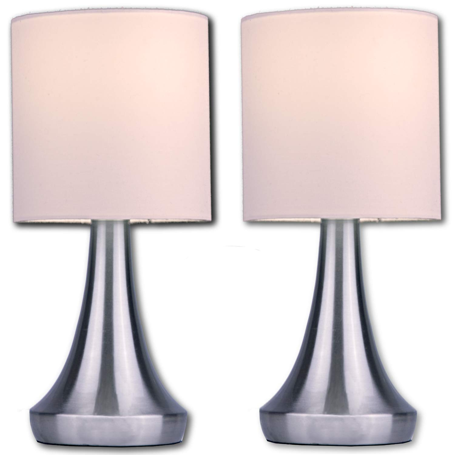 Light Accents Touch Table Lamp Set Stands 13 Tall Accent Light Touch Lamp Set With Fabric Shades And 3 Stage Touch Dimmer Brushed Nickel Finish