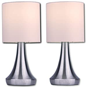 """Light Accents Touch Table Lamp Set - Stands 13"""" Tall Accent Light, Touch lamp Set with Fabric Shades and 3-Stage Touch Dimmer Brushed Nickel Finish (2-Pack)"""