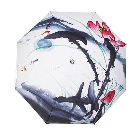 Paraguas de viaje la mejor ourverture y cierre manual Paraguas plegable de pintura con tinta china