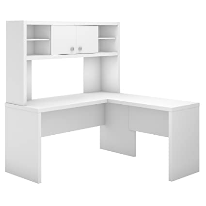 Amazon Com Office By Kathy Ireland Echo L Shaped Desk With Hutch In Pure White Kitchen Dining