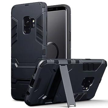 TERRAPIN Funda Compatible con Samsung Galaxy S9 Carcasa Híbrida de Silicona + Polycarbonato Doble Resistencia, y Soporte para Mesa - Negro Oscuro
