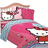 Hello Kitty Full Size Free Time 4-Piece Blue & Pink Sheet Set