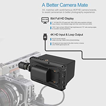 Xinwoer Camera Field Monitor A5 5Inch IPS Screen 4K Full HD Monitor Camera Monitor 1920x1080 Resolution for DSLR Cameras,Supports Multiple Formats High Definition