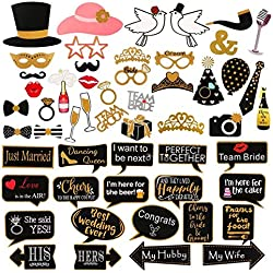 60Pcs Wedding Photo Booth Props Pose Sign Kit,Bachelorette Christmas Holiday Wedding Birthday Party Decoration Supplies