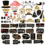 LeeSky 60Pcs Wedding Photo Booth Props Pose Sign Kit for Bachelorette Christmas Holiday Wedding Birthday Party Decoration Supplies