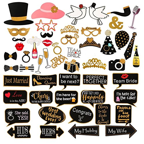 60Pcs Wedding Photo Booth Props Pose Sign Kit,Bachelorette Christmas Holiday Wedding Birthday Party Decoration Supplies]()