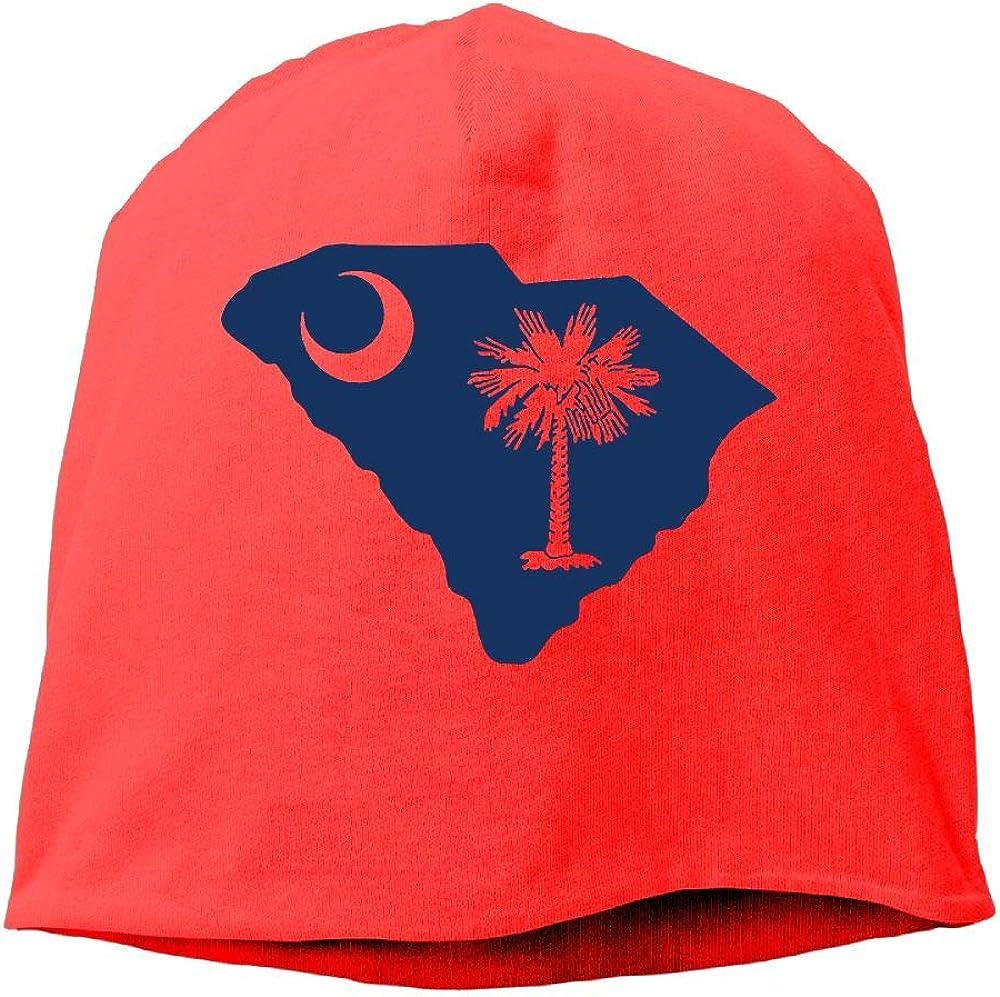 South Carolina Shaped Flag Men /& Women Winter Helmet Liner Fleece Skull Cap Beanie Hat for Hiking Black