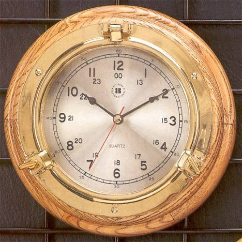 Bey-Berk International Brass Porthole Clock on Oak - Tarnish Proof