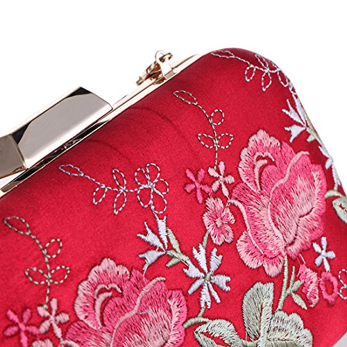 HT - Cartera de mano para mujer rojo rosso