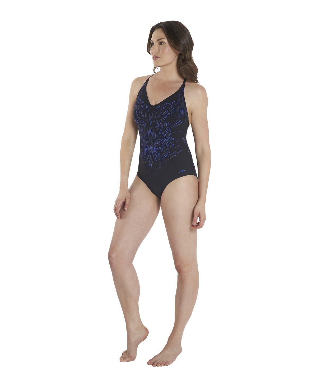Speedo Sculpture aurashine 1?Piece Swim Suit Black/Blue
