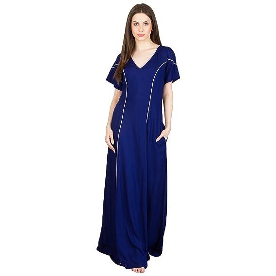413a3833e5 Patrorna Women s Empire Waist Princess Line Maternity Nighty in Royal Blue (Size  S