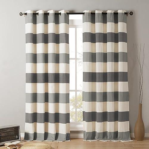 Kensie – Iouri Wide Stripe Cotton Blend Grommet Top Window Curtains for Living Room Bedroom – Assorted Colors – Set of 2 Panels 54 X 84 Inch – Grey