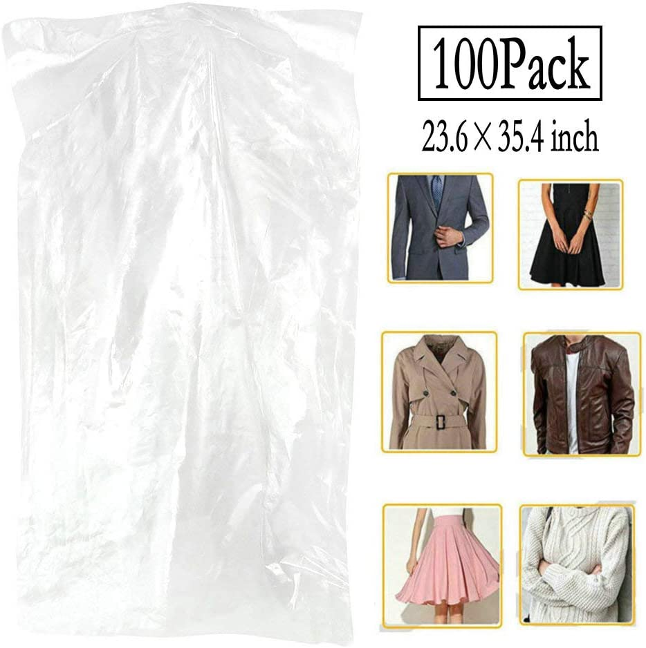 100 Pack Garment Bag Transparent Clothing Dust Cover Dustproof Hanging Clothes Suit Dress Jacket Cover for Dry Cleaner, Home Storage,Travel, Clothes Storage Closet,23.6 x 35.4 inches