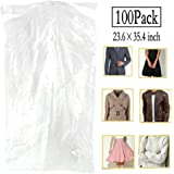100 Pack Garment Bag Transparent Clothing Dust Cover Dustproof Hanging Clothes Suit Dress Jacket Cover for Dry Cleaner, Home