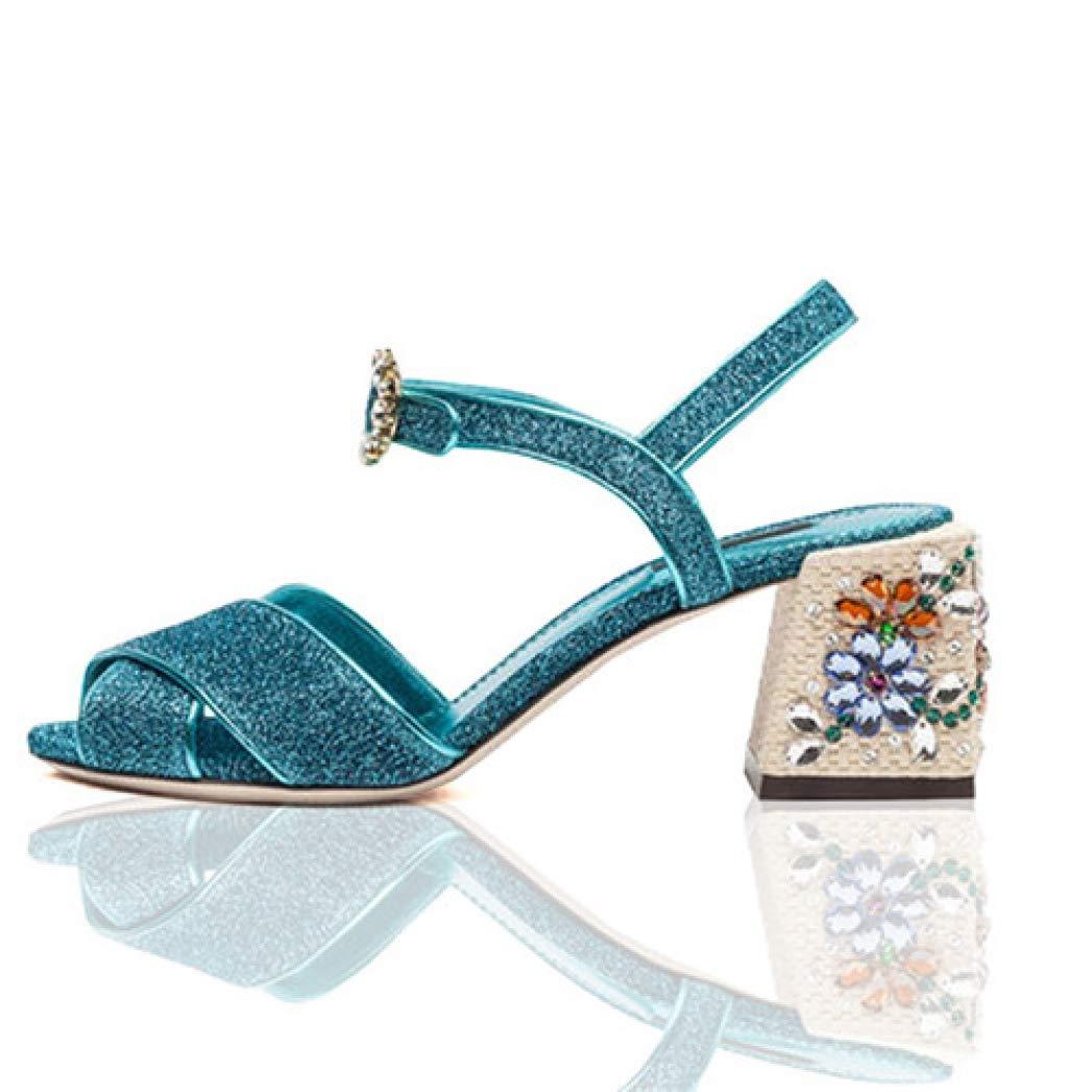 Women's Cross-Toe Jeweled Chunky High-Heel Crystal Buckle Sandals - DeluxeAdultCostumes.com