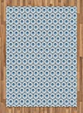 Japanese Area Rug by Lunarable, Daisies in Circular Forms in Blue Tones Entwined Design Oval Symbolic, Flat Woven Accent Rug for Living Room Bedroom Dining Room, 5.2 x 7.5 FT, Blue Pale Blue White