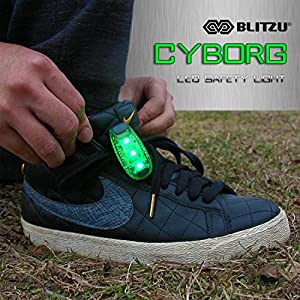Blitzu Cyborg LED Safety Light 2 pack + FREE Bonuses - Clip On Running Lights for Runner, Kids, Joggers, Bike, Dogs, Walking The Best Accessories for Your Reflective Gear, Nighttime, Bicycle (Green)