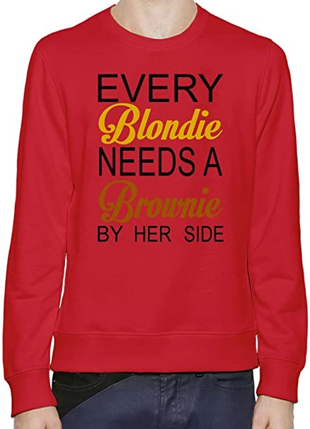 Every Blondie Needs A Brownie Be Her Side Funny Slogan Hombres sudadera XX-Large: Amazon.es: Ropa y accesorios