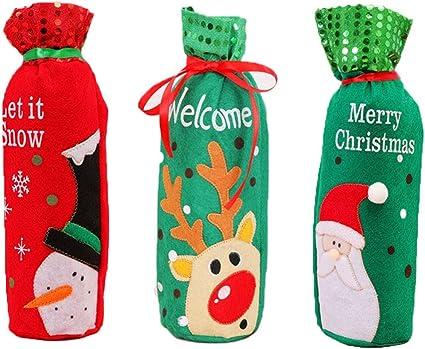 LAANCOO Navidad Vino su/éter Botella Cubierta con Conjuntos de dise/ño de Cuello bot/ón de Capa para la Fiesta de Navidad Decoraciones de 2 Piezas