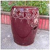 International Caravan Catalina Tasseled Ceramic Garden Stool For Sale