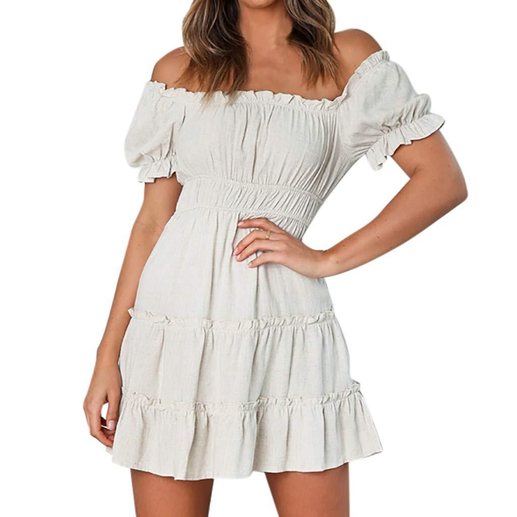 FEDULK Women's Pleated Dress Off Shoulder Short Sleeve Ruffled Solid Colour Summer Casual Mini Dress(White, X-Large)
