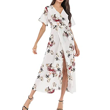 DressLksnf Vestido de Mujer Verano Estampado Floral Falda Larga ...