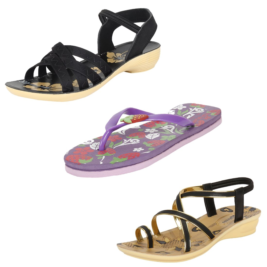 ed94a5d50529e9 Earton Women Combo Pack of 3 Sandal with Slipper  Buy Online at Low Prices  in India - Amazon.in