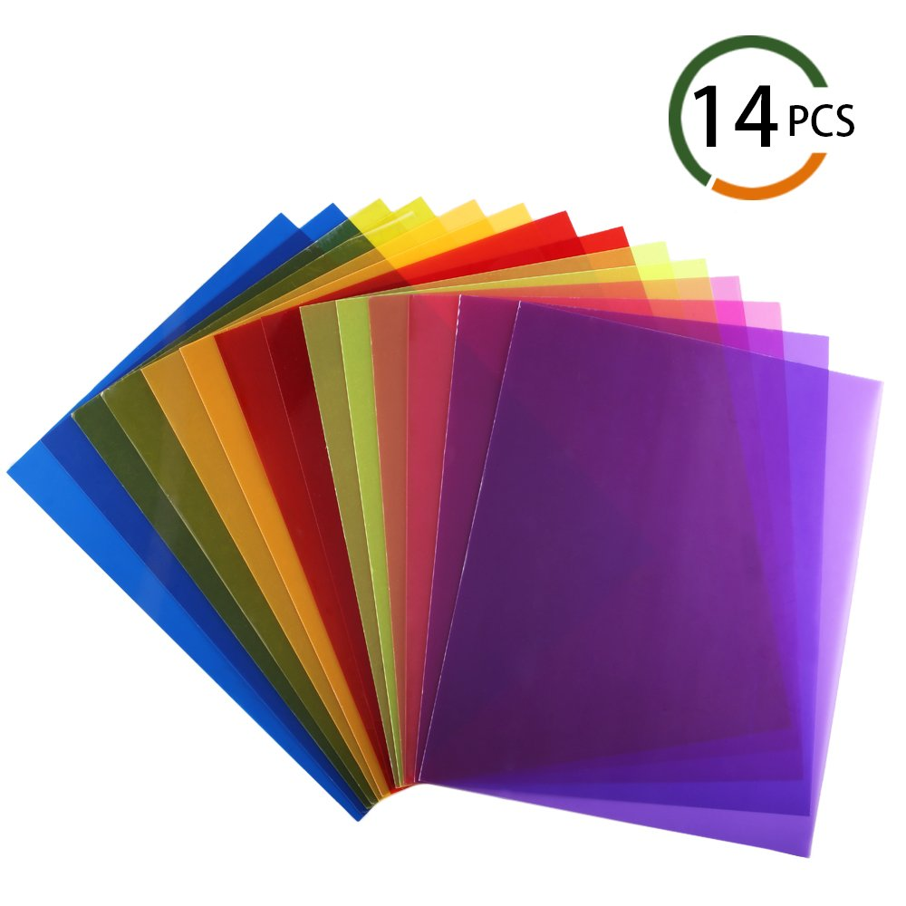 INNKER 14pcs Lighting Gel Filter Film Plastic Film Sheets Color Correction Gel Dyslexia Colored Overlays Transparency Sheets for Reading Flash, 8.5 by 11 Inch, 7 Colors