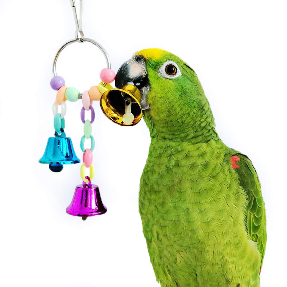 QBLEEV Wooden Parrot Swing Ladder with Bell Toys Connected by Steel Wire for Pet Training & Exercising,Colorful Natural Wood Beads Birdcage Play Gym for Cockatiel Conure Parakeet Macaw Cockatiels