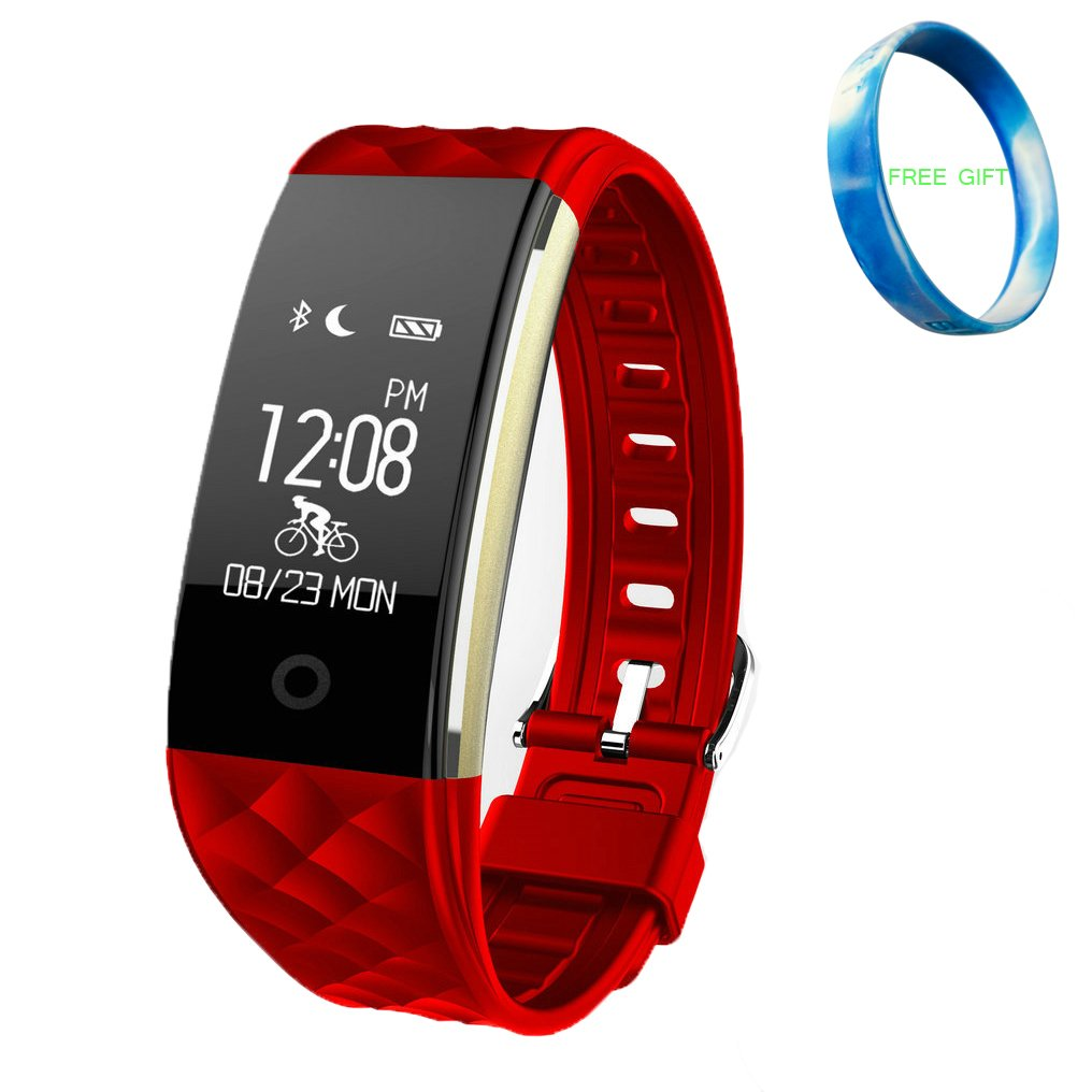 JIAMEIYI Fitness Tracker, S2 Smart Bracelet with Intelligent Heart Rate Blood Pressure Monitor Health Sleep Activity Tracker Active Sports Monitoring for Android and IOS (red)