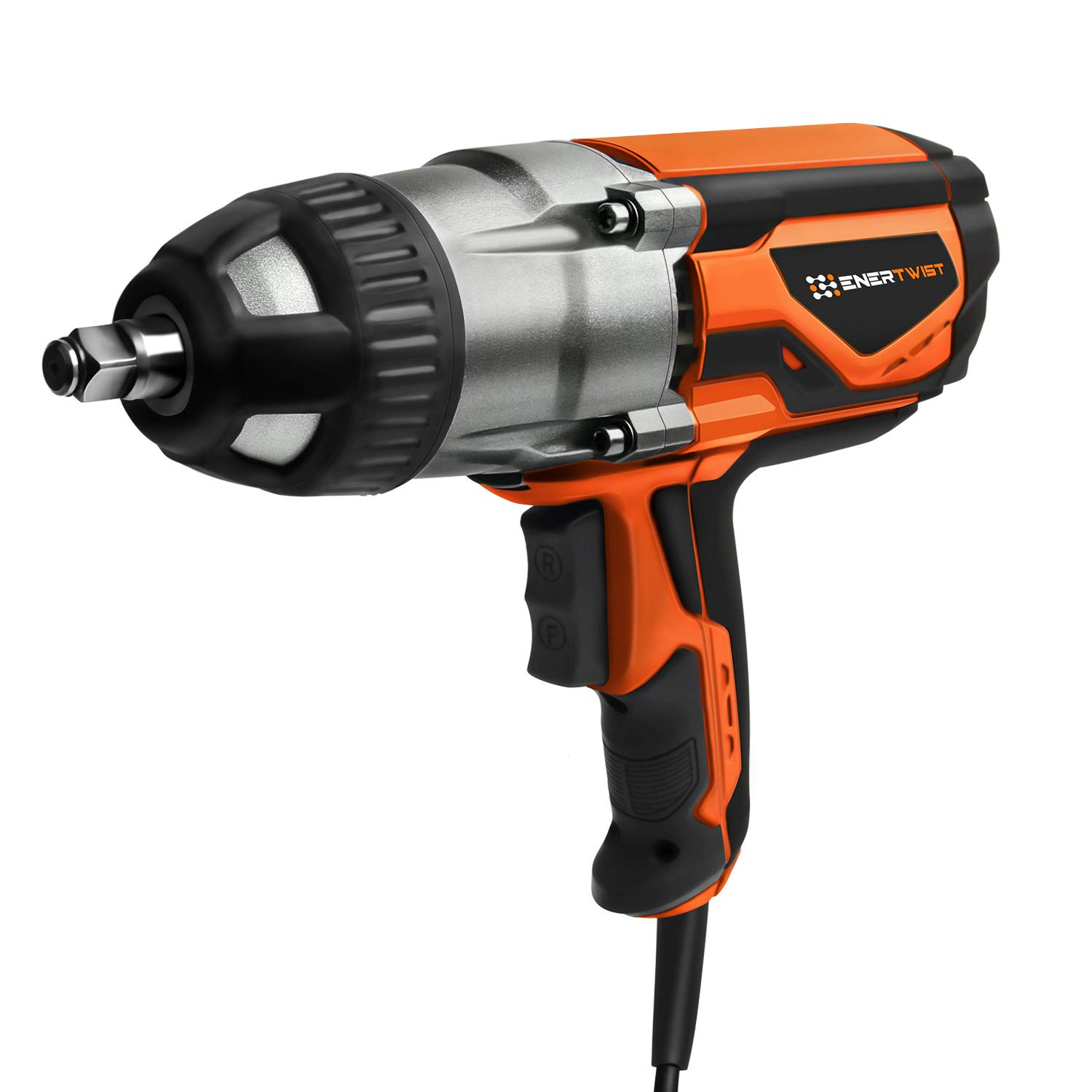 ENERTWIST Electric Impact Wrench - 8.5 Amp 1/2 Inch Heavy Duty Torque Corded Power Wrench with Hog Ring Anvil for Easy Socket Changes