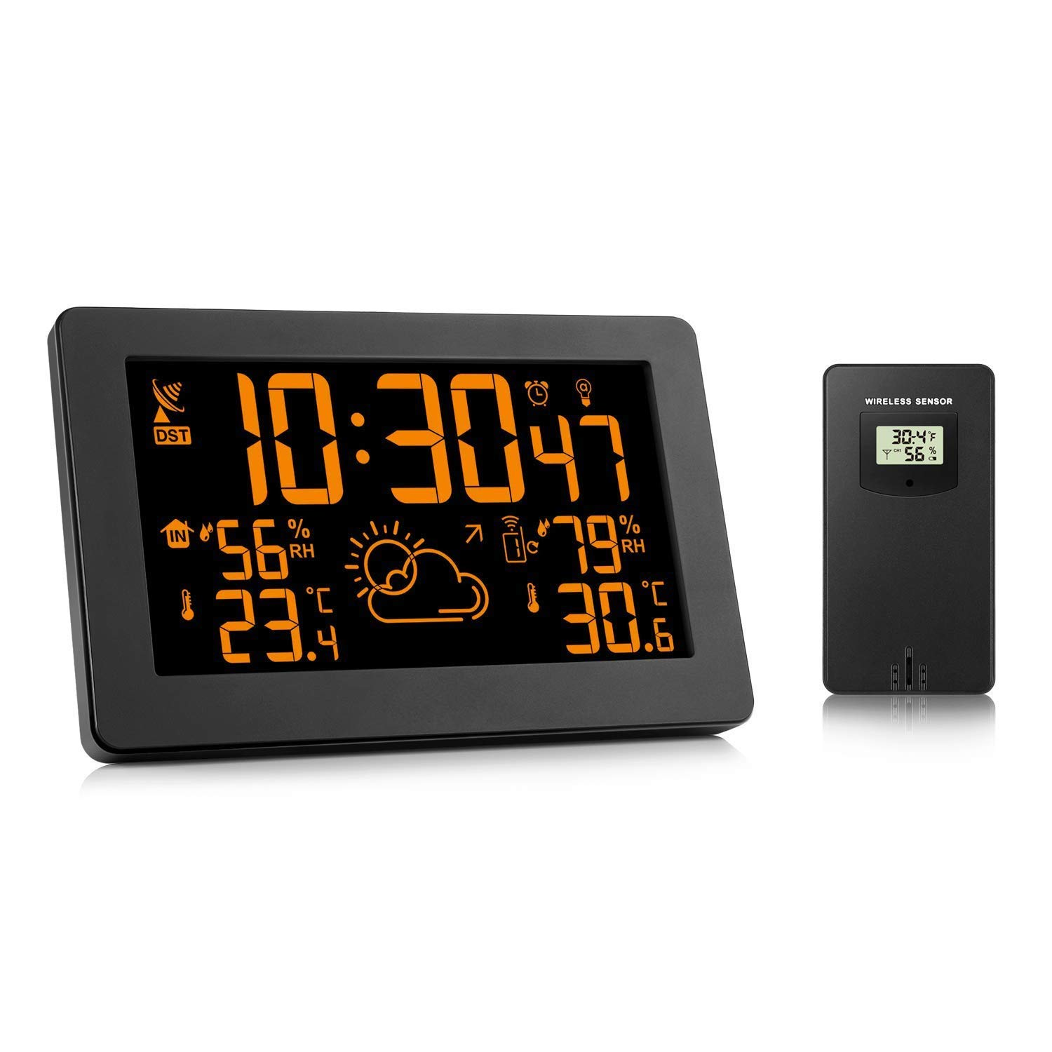 HXD Radio Alarm Clock, Weather Forecast Clock LED Large Screen Display Temperature Humidity Weather Clock by HXD