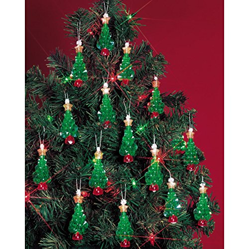 Beadery Holiday Beaded Ornament Kit, 2.25-Inch, Mini Trees, Makes 24 Ornaments (Ornament Kits)
