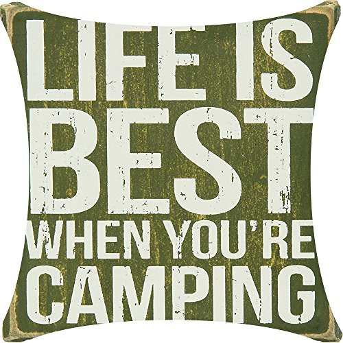 Life Is Best When Youre Camping Grass Green Playground Background Cotton Linen Decorative Throw Pillow Case Cushion Cover Square 18 X18