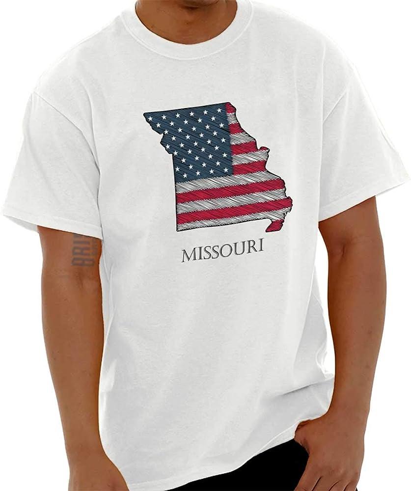 Missouri State orgullo americano bandera Estados Unidos patrióticos Ideas de regalo camiseta de manga corta Tee - Blanco -: Amazon.es: Ropa y accesorios