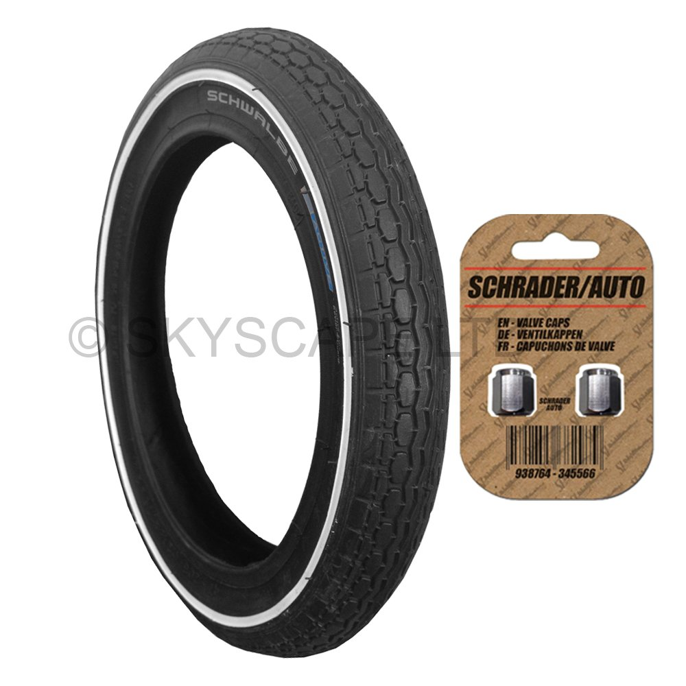 Stroller / Push Chair / Buggy / Jogger Tire - 12 1/2' x 1.75 - 2 1/4 (Black) Super Grippy & Fast Rolling + FREE Shipping + FREE Upgraded Skyscape Metal Valve Caps (Worth $4.99) Schwalbe & Skyscape