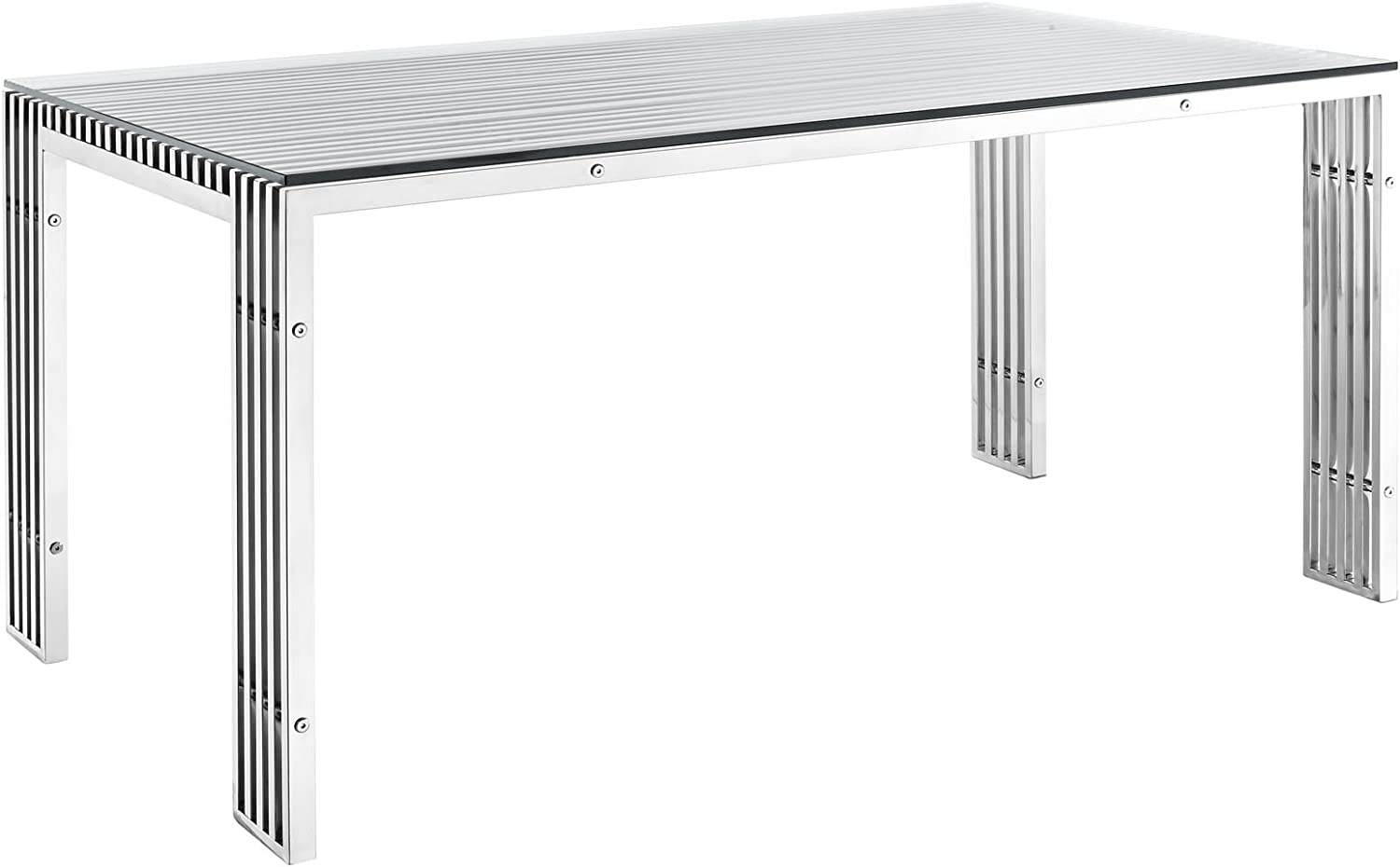 """Modway Gridiron 59"""" Industrial Modern Stainless Steel Kitchen and Dining Table in Silver- Fully Assembled"""