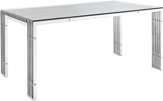 Amazon Com Modway Gridiron 59 Industrial Modern Stainless Steel