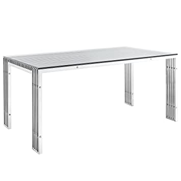 Modway Gridiron Stainless Steel Dining Table In Silver Part 44