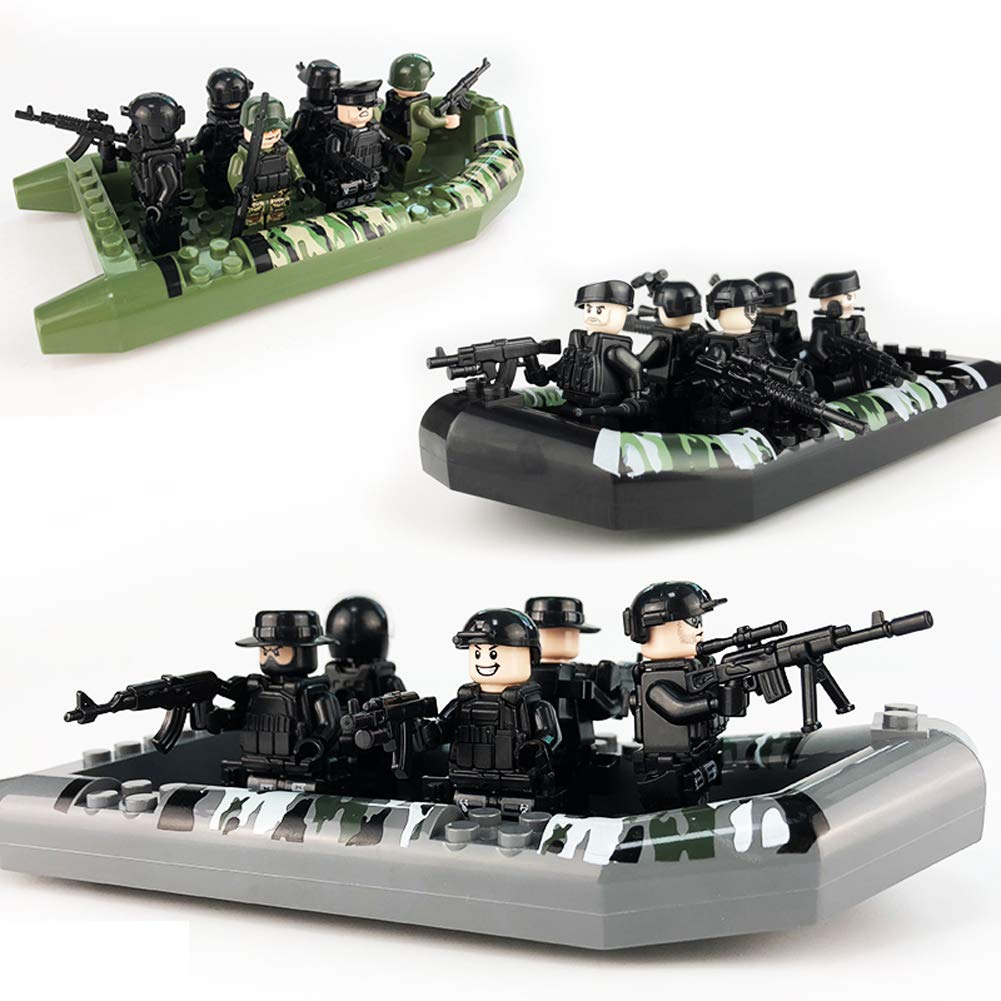 24 Figures Building Bricks Army Soldiers Mini Police People with Figure Weapons Accessories ,3 Assault Boat, Building Kids Toys