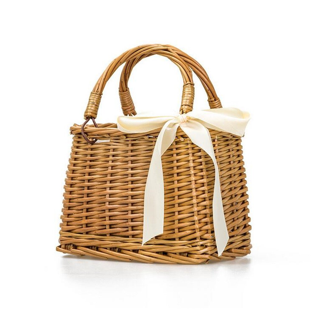 Beach Straw Bags Women Summer Handbag Rattan Square Tote Bag Handmade Bali Woven Portable Bag Bohemia