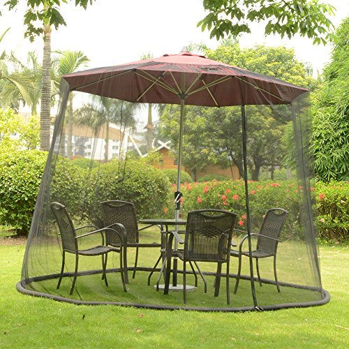 YAMEI Outdoor Garden Patio Umbrella Table Screen Mosquito Net 9-FOOT| Canopy Curtain | Fixed by Water Pipe | Fits Over 7' or 9' Umbrella Height Umbrella Table Mesh Top
