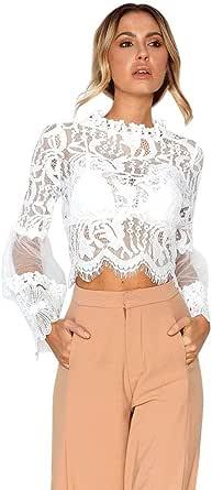 JURTEE Camiseta Blanca Mujer Encaje Hueco Tops Manga De Campana Blusa Fiesta Blusa Camisa