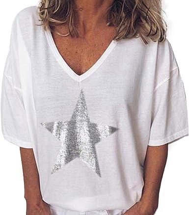 Qingsiy Camisetas Mujer Blusa Suelta De Mujer Manga Corta Camiseta con Estampado Tops Casuales Camisa Escote del V-Cuello Top De La Moda Mujer Deporte De Camiseta Tops Mujer Verano: Amazon.es: Ropa y
